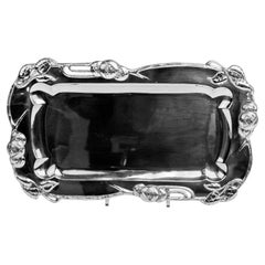 Silver Austrian Art Nouveau Serving Platter Length 15.74 inches Vienna