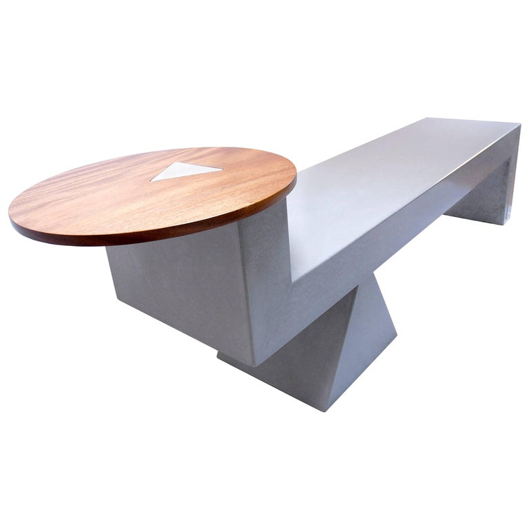 Contemporary Handcrafted Bench, Concrete and Mahogany
