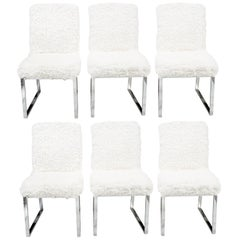 Set of Six Milo Baughman Faux Sheepskin and Chrome Dining Chairs