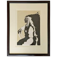Mid-Century Modern Framed Print of Native American Signed Fritz Scholder