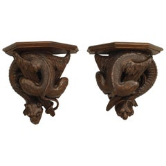 Pair of Rustic Black Forest '19th Century' Walnut Wall Shelves