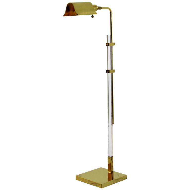 Mid-Century Modern Brass and Lucite Adjustable Floor Lamp Bauer Kovacs Era