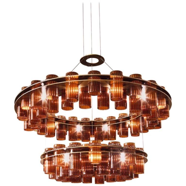 Serse Chandelier, Brushed Bronze Steel Chandelier with Glass Diffusers