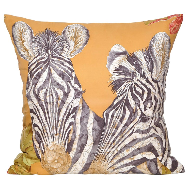 Vintage Bronze Gold Zebra Salvatore Ferragamo Silk Scarf and Irish Linen Cushion For Sale