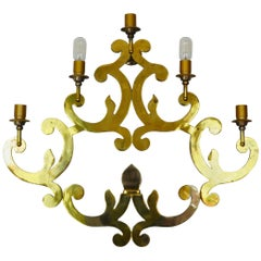 Hugh Italian Decorative Brass Wall Sconce, 1960s