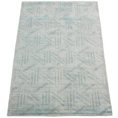 Modern Blue Bamboo Silk Rug with Sculpted Design