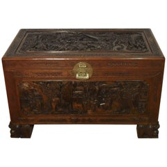 Early 20th Century Oriental Carved Freestanding Camphor Wood Chest