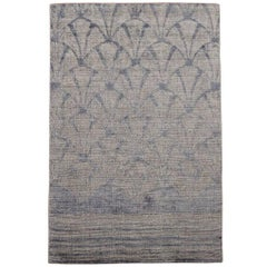 Modern Bamboo Silk and Wool Rug with Sculpted Design