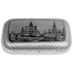 Silver 875 Russian Cigarette Case Etched Engraved Picture Moscow Kremlin, 1877
