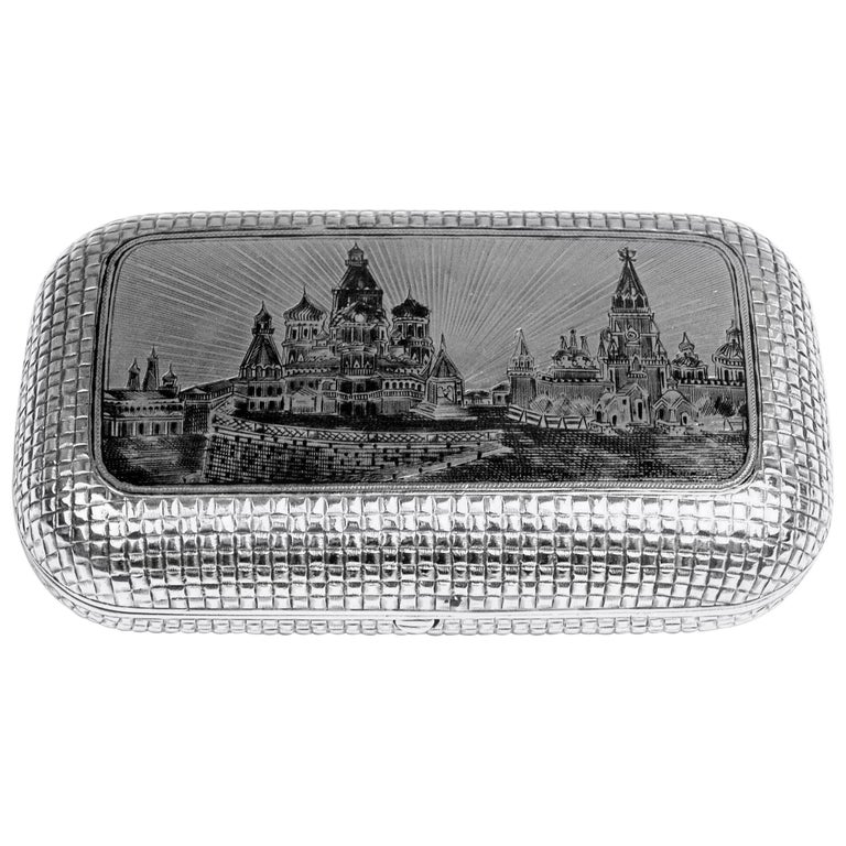 Silver 875 Russian Cigarette Case Etched Engraved Picture Moscow Kremlin, 1877 For Sale