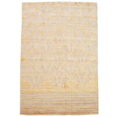 Modern Bamboo Silk & Wool Rug with Sculpted Design