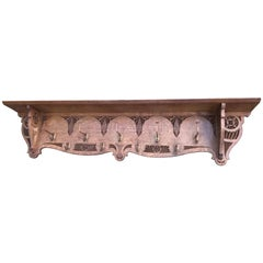 Large Arts & Crafts Hand-Carved Solid Oak and Brass Hooks Wall Coat Rack