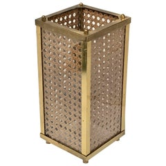 Mid-Century Modern Brass Lucite and Rattan Table Lamp Italy circa 1970s Lighting