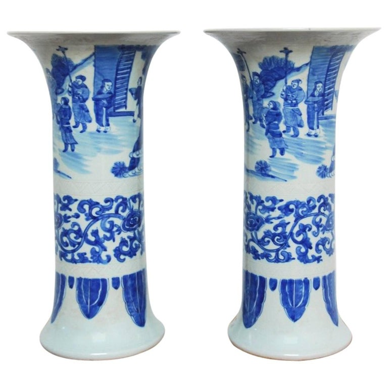 Pair of Chinese Blue and White Porcelain Trumpet Vases