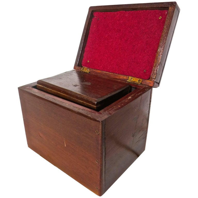 Magician's Trick Double Wood Boxes with Ties, circa 1890 For Sale
