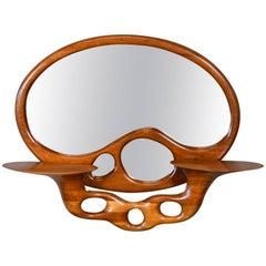 Sculptural Stack Laminated Walnut Mirror by Craig Lauterbach