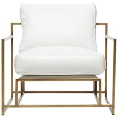 White Leather and Antique Brass Armchair