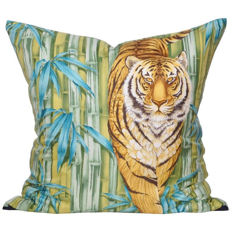 Large Vintage Tiger Blue Salvatore Ferragamo Silk Scarf and Irish Linen Pillow For Sale