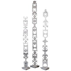 Three Geometric Aluminium Totems by David Green