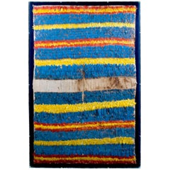Inca Feathered Tunic with Turquoise Blue, Red and Yellow Horizontal Stripes