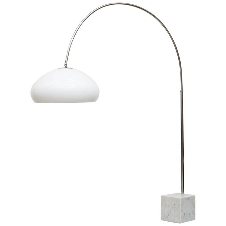 Large 1970s Arc Lamp With Cubic Marble Base For