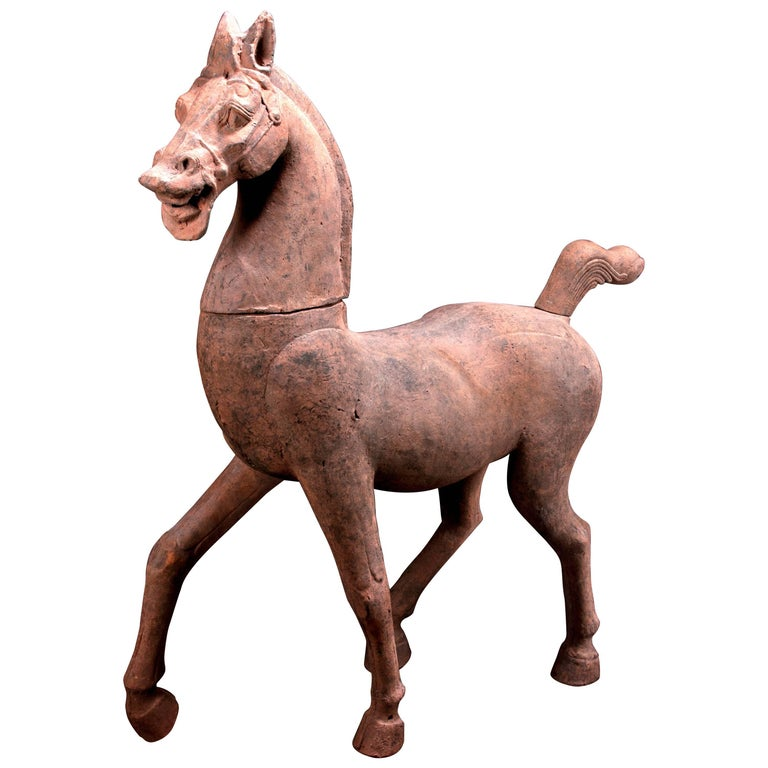 Monumental Han Dynasty Terracotta Horse - TL Tested - China, '206 BC–220 AD' For Sale