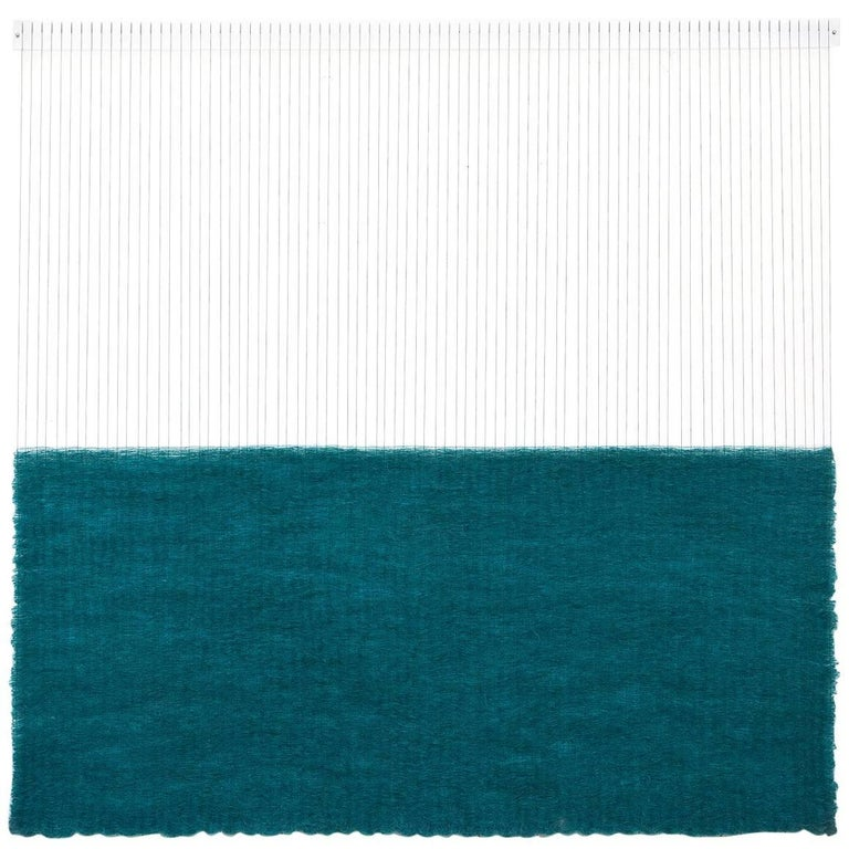 Contemporary Handwoven Wall Fiber Art, Heavy Teal Rectangle by Mimi Jung