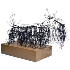 Wire Schnauzer Dog Sculpture by Artist Michael L. Jacques