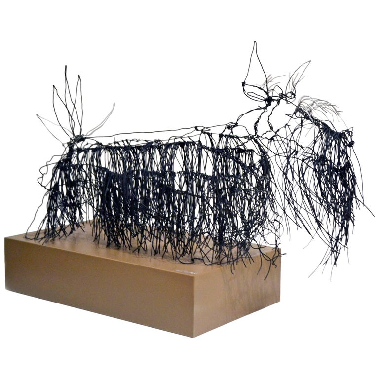 Wire schnauzer dog sculpture by artist michael l jacques for Dog wire art