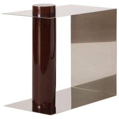 L.E. Pūru Contemporary Side Table in Polished Stainless Steel and Plum Resin