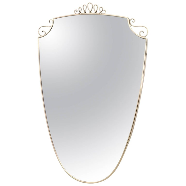 Shield Shaped Wall Mirror in the Style of Ponti with Brass Frame, Italy, 1940s
