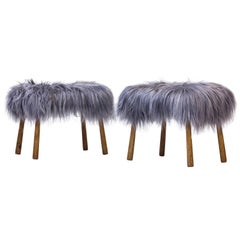 Danish 1940s Club Leg Stools with Icelandic Sheepskin