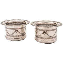 Pair of Edwardian Silver Plated Champagne Coasters, circa 1905