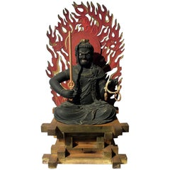 Highly Important Wood Sculpture Fudo Myo-o 'Acala'