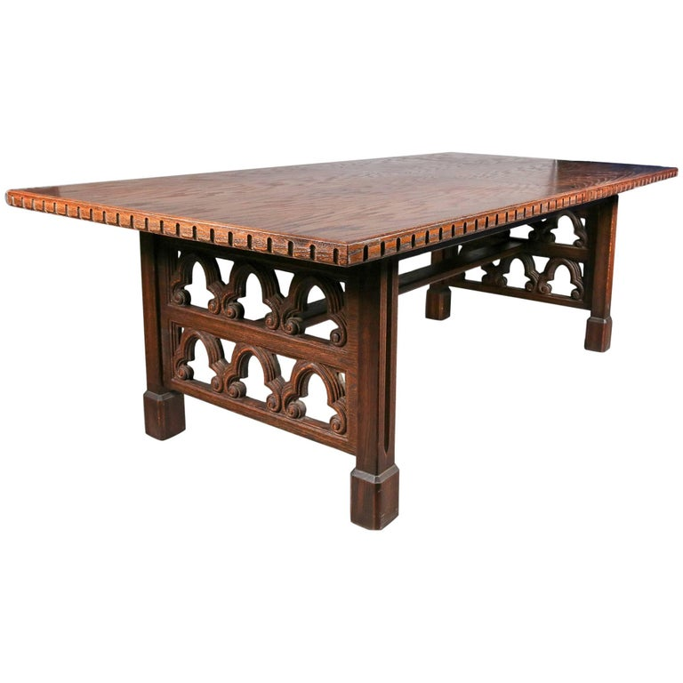 Antique English Carved Walnut Gothic Trestle Table With 2