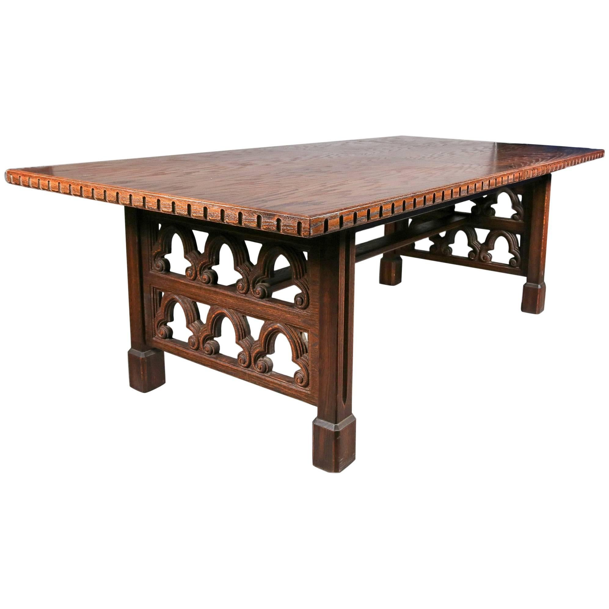 Antique English Carved Walnut Gothic Trestle Table With 2 Leaves, 19th  Century For Sale
