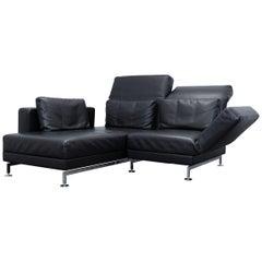 Brühl & Sippold Moule Designer Corner Sofa Leather Black Function Couch Modern