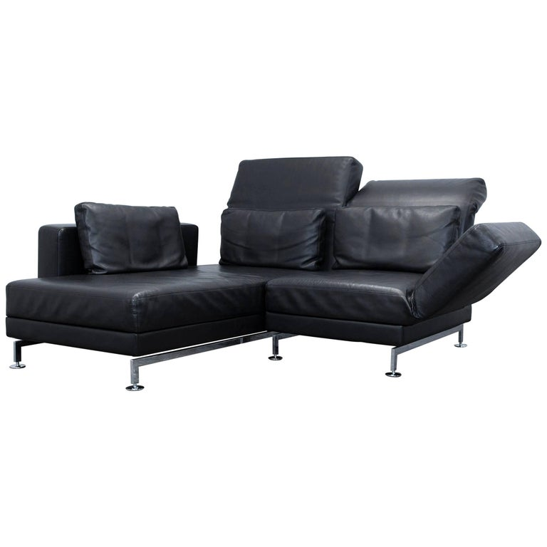 br hl and sippold moule designer corner sofa leather black function couch modern at 1stdibs