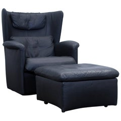 De Sede Ds 23 Designer Armchair Set Leather Black One-Seat Couch Modern