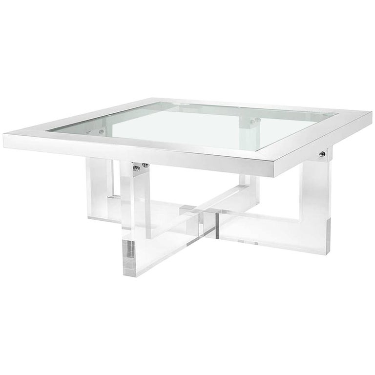 Shiffrin Coffee Table Square Acrylic And Clear Glass For Sale At 1stdibs