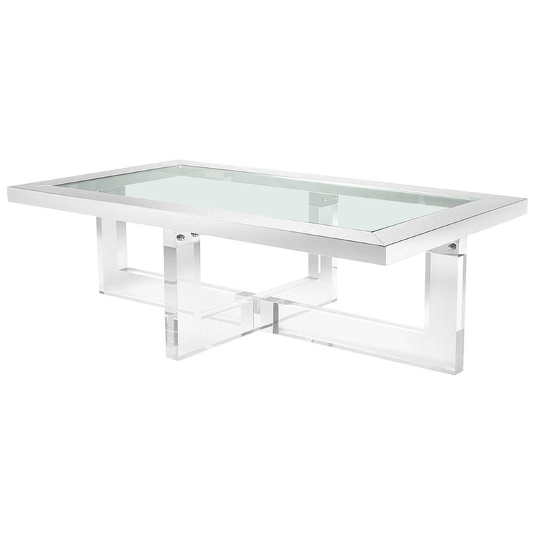 Shiffrin Coffee Table Rectangular Acrylic And Clear Glass For Sale At 1stdibs