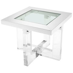 Shiffrin Side Table Rectangular Acrylic and Clear Glass