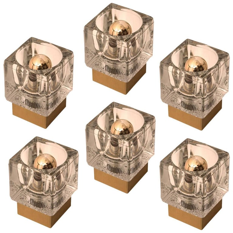 Set of Six Peill & Putzler Wall/Ceiling Lights Brass and Glass Cubes, 1970s For Sale