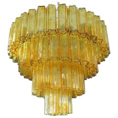 Murano Glass Tube Chandelier Venini 78 Glass Tube