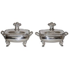Pair of Sheffield Silver Plate Sauce Tureens English, 19th Century