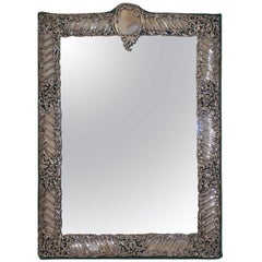 Sterling Silver and Velvet Dressing Table Mirror, England, Late 19th Century