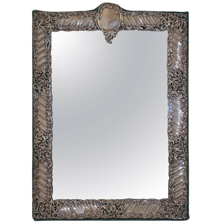 Sterling Silver and Velvet Dressing Table Mirror, England, Late 19th Century 1