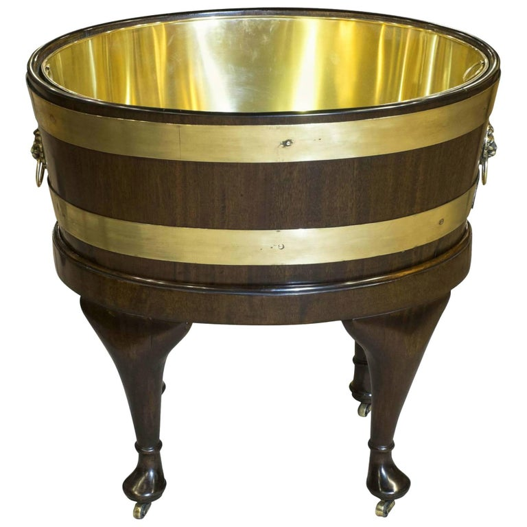 Chippendale Period Brass Bound Mahogany Oval Wine Cooler on Stand