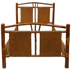 Rustic Old Hickory Bed with Natural Woven Design