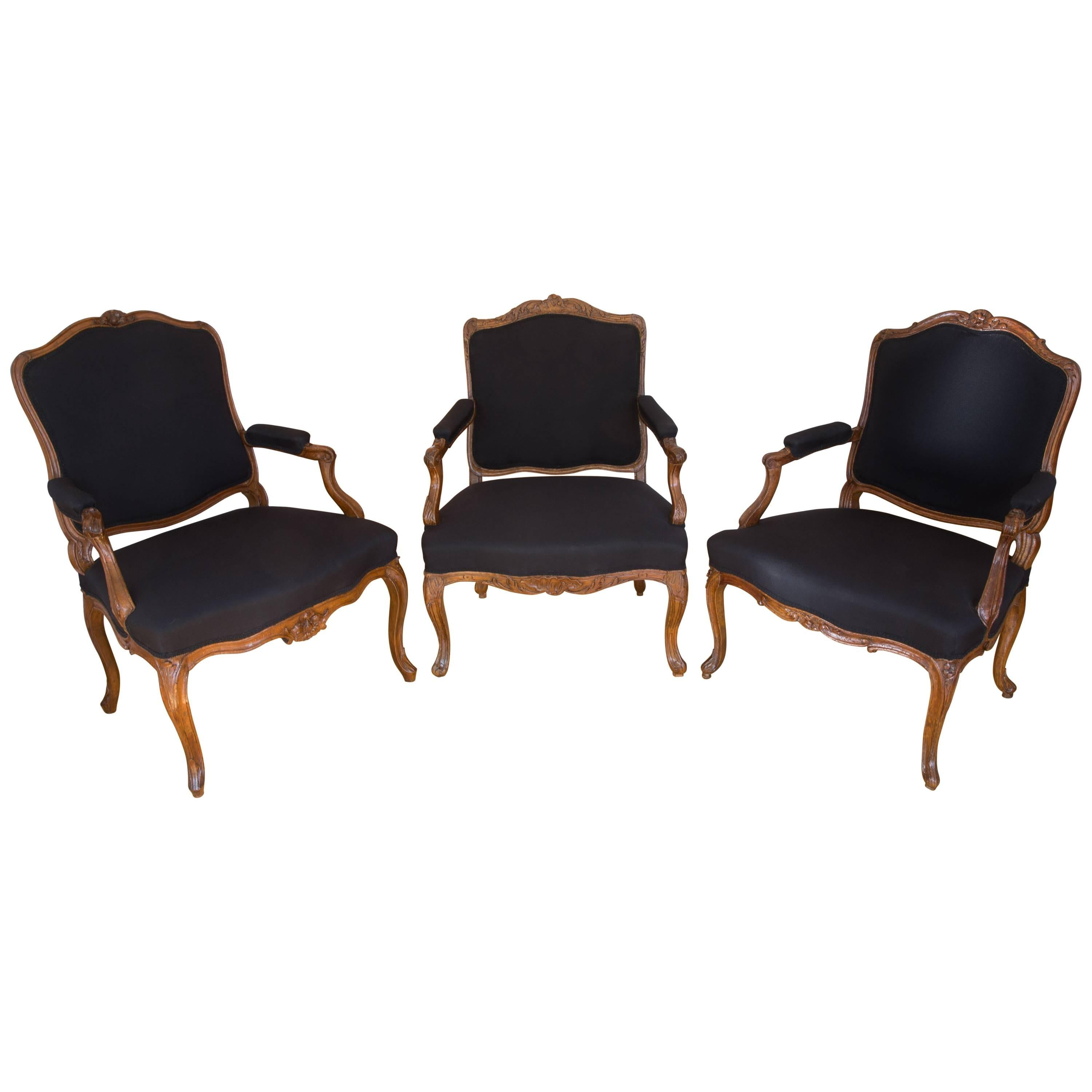 Set Of Three French Carved Walnut Period Rococo Armchairs, Louis XV Black  Fabric For Sale